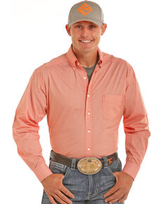 Tuf Cooper Men's Orange Competition Fit Geo Print Long Sleeve Western Shirt , Orange, hi-res