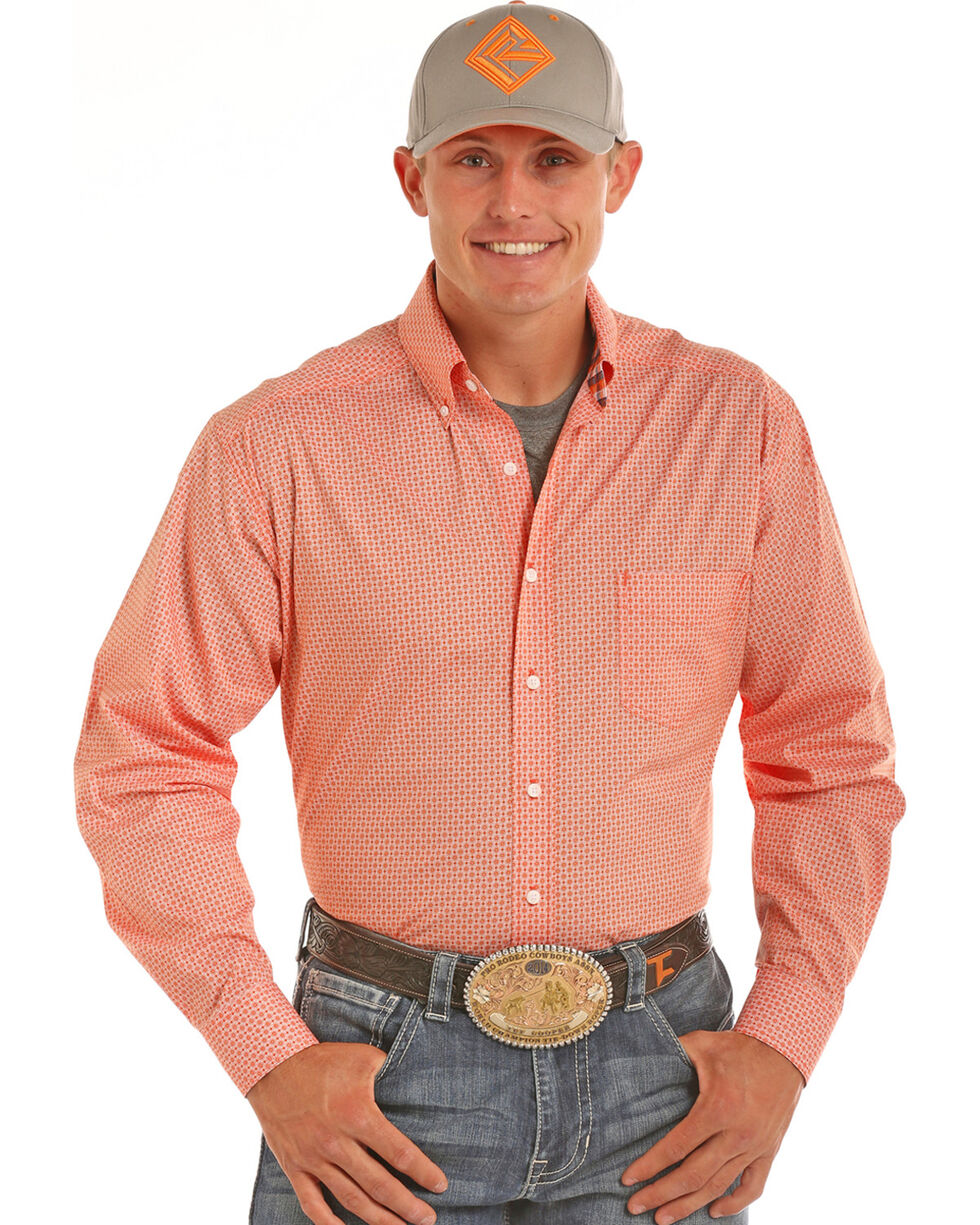 Tuf Cooper Men's Competition Fit Print Shirt, Orange, hi-res