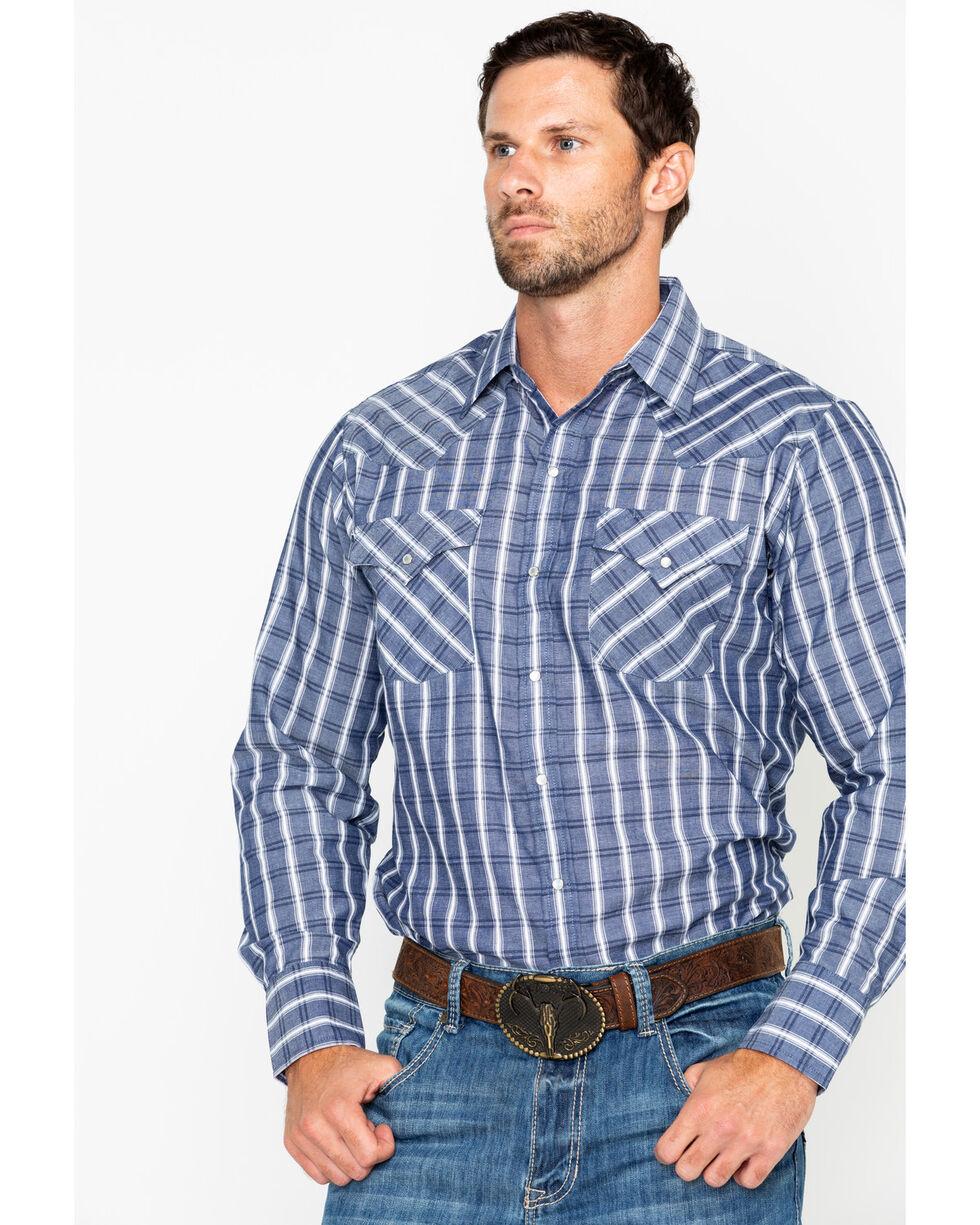 Ely Cattleman Men's Textured Plaid Long Sleeve Western Shirt  , Blue/white, hi-res