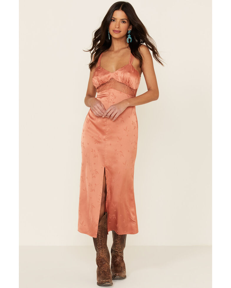 Sadie & Sage Women's Jacquard Lace Midi Dress, Rust Copper, hi-res