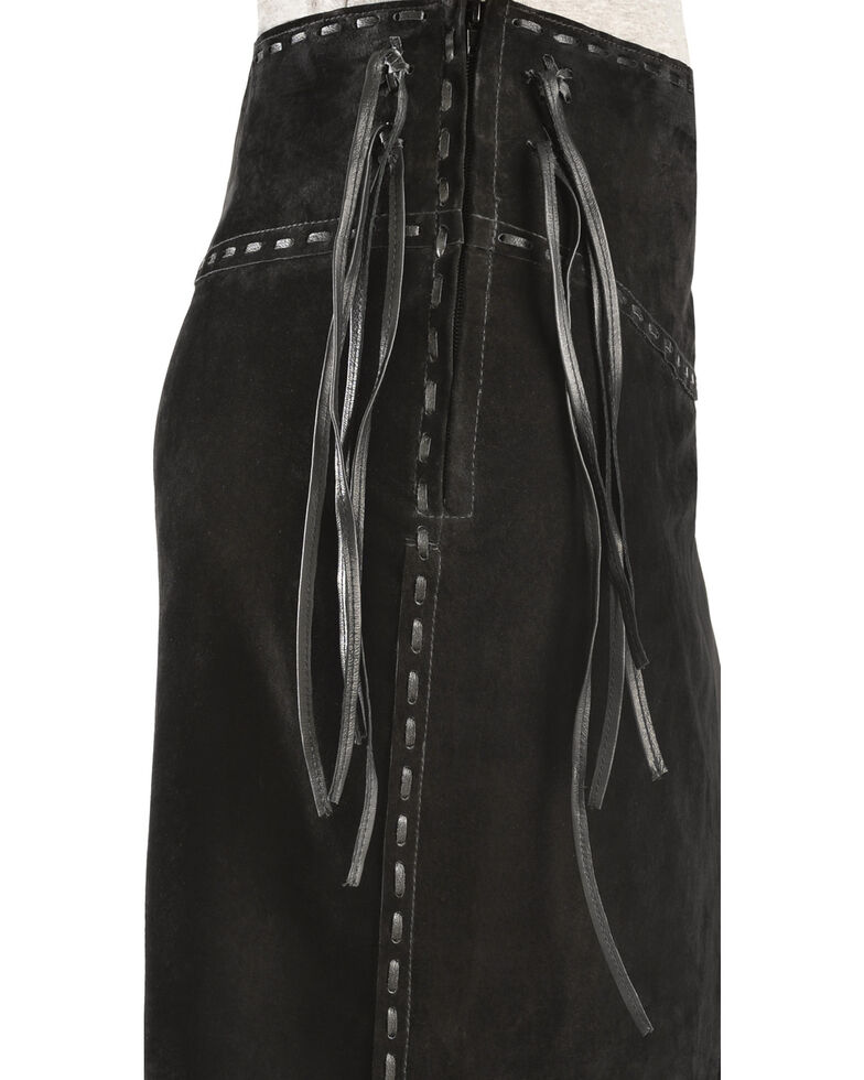 Scully Asymmetrical Fringe Suede Leather Skirt, Black, hi-res
