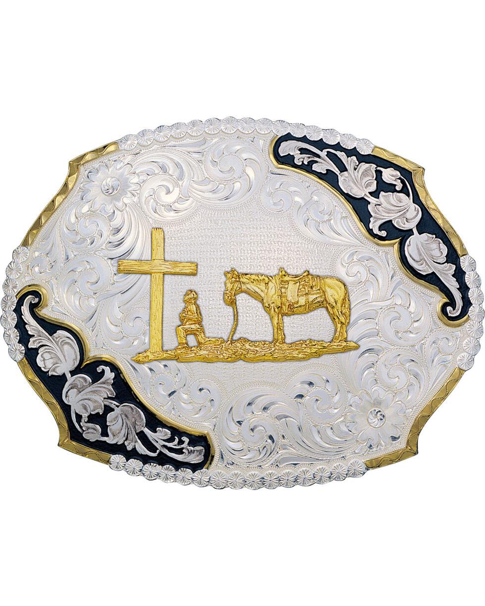 Montana Silversmiths Antique Christian Cowboy Western Belt Buckle, Multi, hi-res