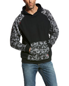 Ariat Men's Black Digi FR Patriot Work Hoodie - Big , Black, hi-res