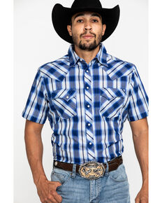 Wrangler Men's Royal Blue Plaid Fashion Snap Short Sleeve Western Shirt , Blue, hi-res