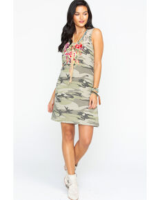 Johnny Was Women's Camo Adeline Side Button Tunic Dress , Camouflage, hi-res