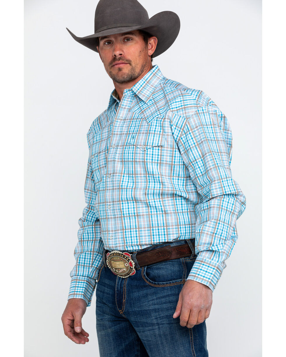 Stetson Men's Small Plaid Long Sleeve Western Shirt , Blue, hi-res