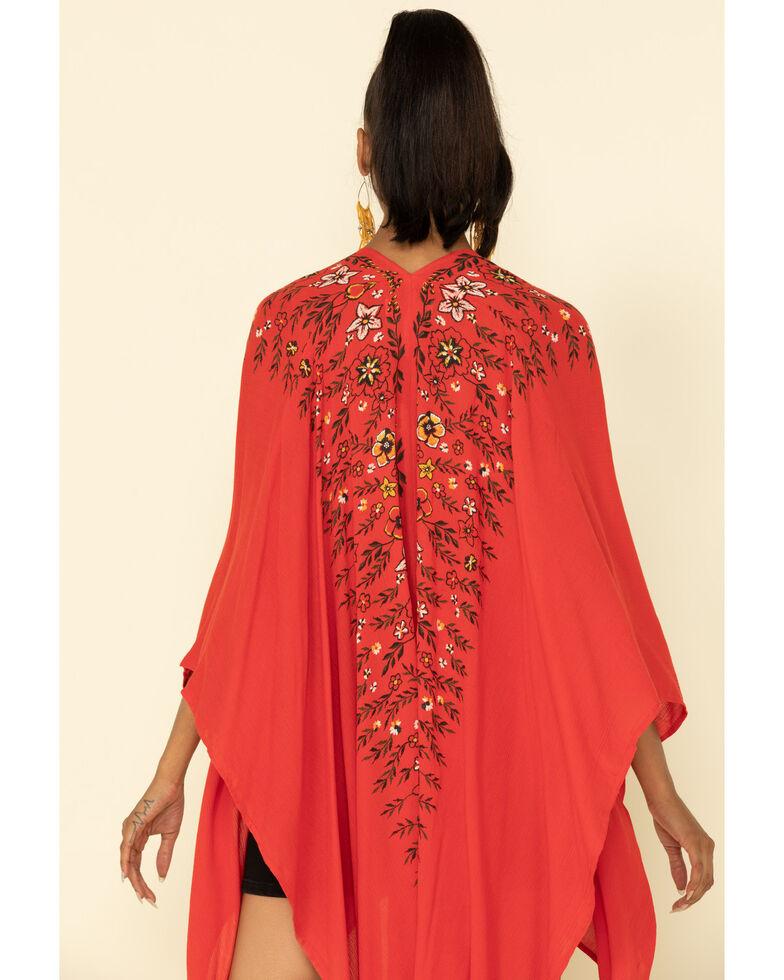 Shyanne Women's Floral Tassel Shawl, Red, hi-res