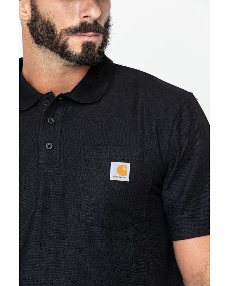 Carhartt Men's Contractors Pocket Short Sleeve Work Polo Shirt, Black, hi-res
