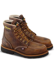 Thorogood Men's Crazyhorse Waterproof Work Boots - Steel Toe, Brown, hi-res