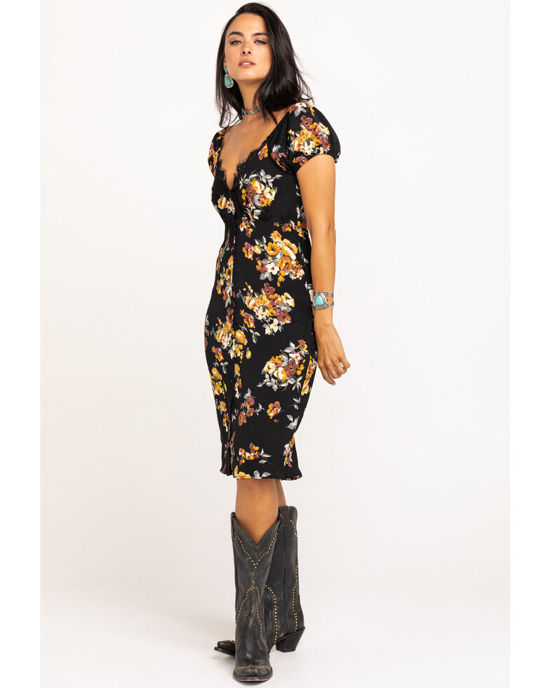 Nikki Erin Women's Black Floral Button Front Midi Dress, Black, hi-res