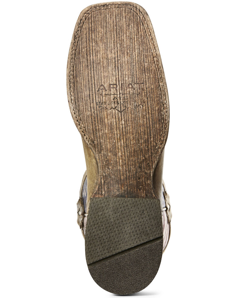 Ariat Men's Ranchero American Flag Western Boots - Wide Square Toe, Brown, hi-res