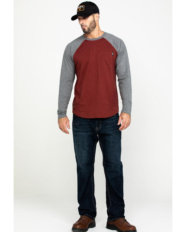 Hawx Men's Red Baseball Raglan Crew Long Sleeve Work Shirt - Tall , Charcoal, hi-res