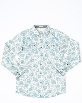 Cody James Boys' Oakwilde Floral Print Long Sleeve Western Shirt , Blue, hi-res