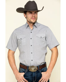 Ely Cattleman Men's Multi Geo Print Short Sleeve Western Shirt , White, hi-res