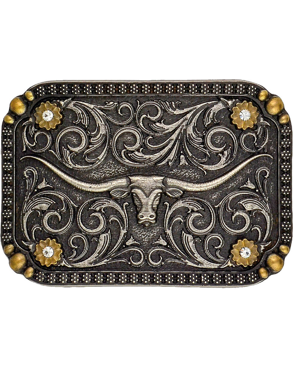 Montana Silversmiths Two-Tone Longhorn Traditional Attitude Belt Buckle, Multi, hi-res