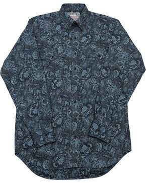 Schaefer Outfitter Men's Black Frontier Paisley Western Button Shirt , Blue, hi-res
