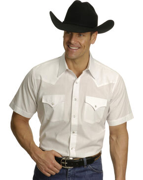 Ely Cattleman Men's Short Sleeve Solid Western Shirt, White, hi-res