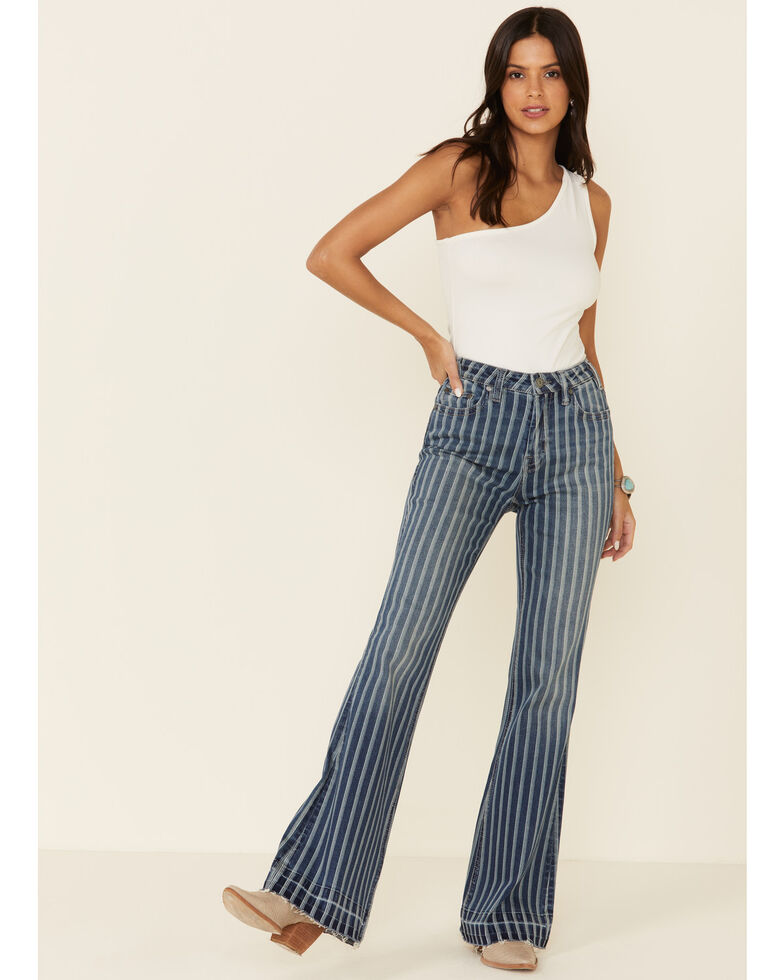 Rock & Roll Denim Women's Striped Trouser Pants, Blue, hi-res