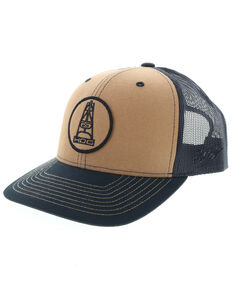 HOOey Men's Rose Oil Rig Logo Trucker Cap, Tan, hi-res