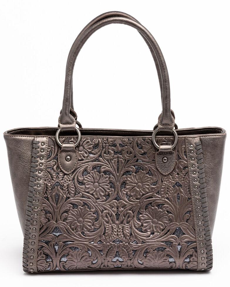 Shyanne Women's Grey Glitter Inlay Tote Bag, Medium Grey, hi-res
