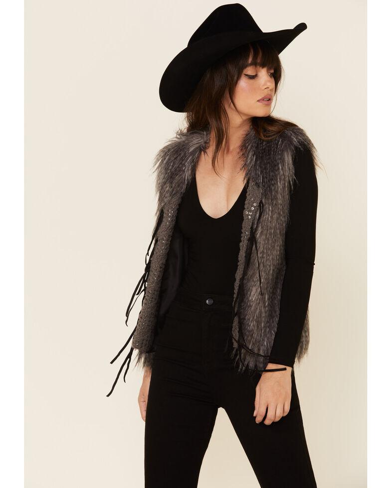 Powder River Outfitters Women's Brown Stud Fringe Faux Fur Vest, Brown, hi-res