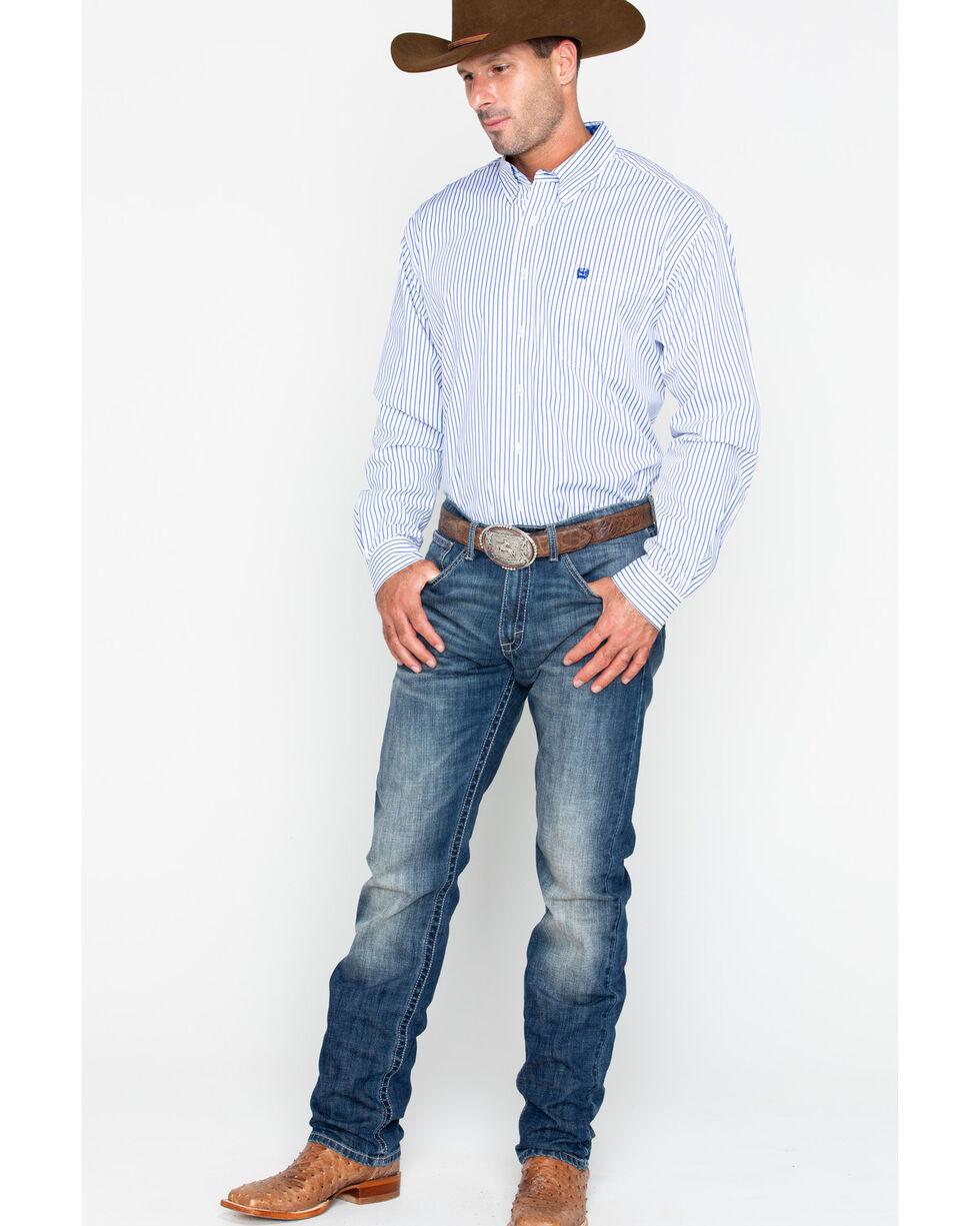 Cinch Men's White Striped Western Shirt , White, hi-res