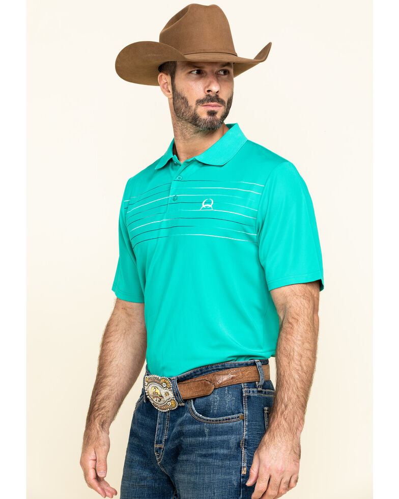 Cinch Men's Arena Flex Green Striped Short Sleeve Polo Shirt , Green, hi-res