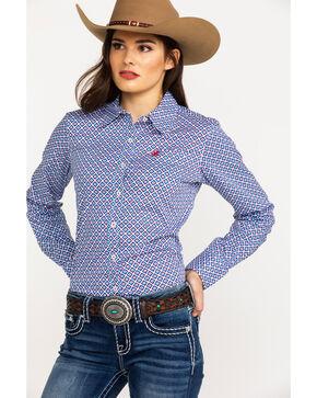 Ariat Women's Kirby Stretch Diamond Geo Print Long Sleeve Western Shirt, Blue, hi-res