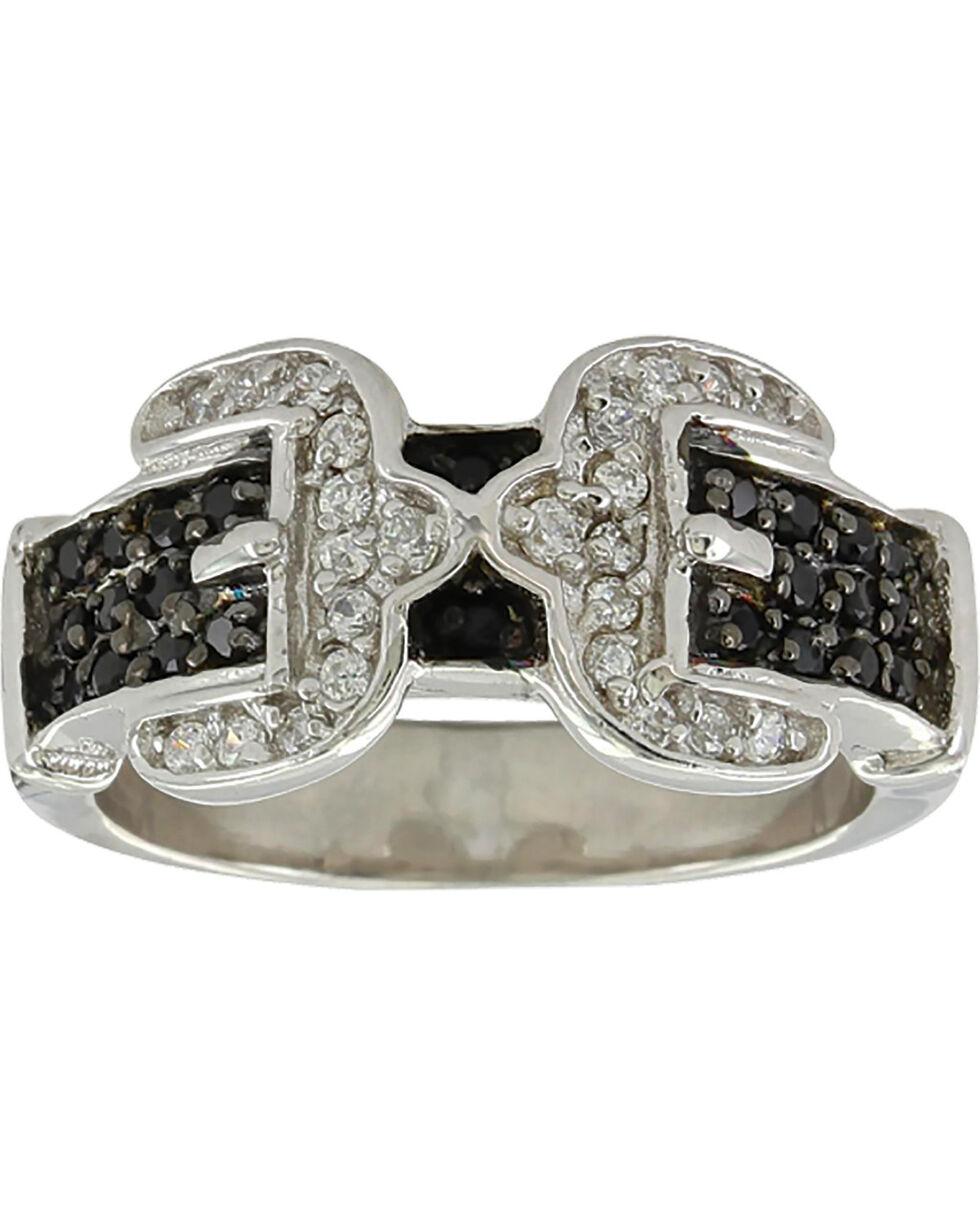 Montana Silversmiths Women's Double Buckle Ring , Silver, hi-res