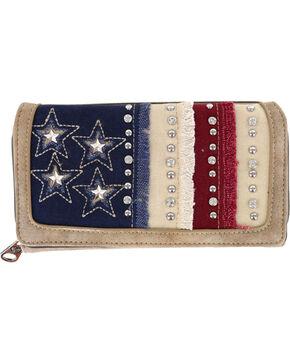Shyanne® Women's Americana Denim Front Flap Wallet, Khaki, hi-res