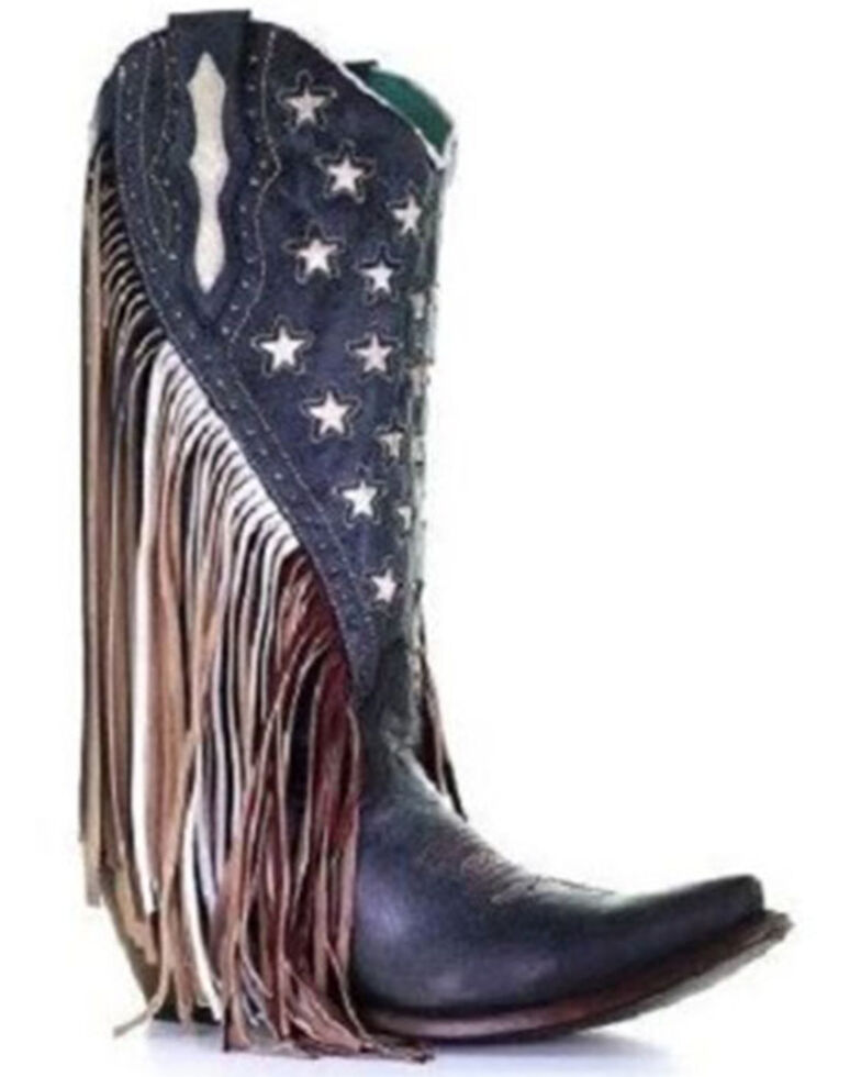 Corral Women's Blue Lamb Stars Inlay & Studs Western Boots - Snip Toe, Blue, hi-res