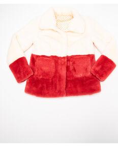 Girls' Pink Ivory Color Block Faux Fur Jacket, Pink, hi-res