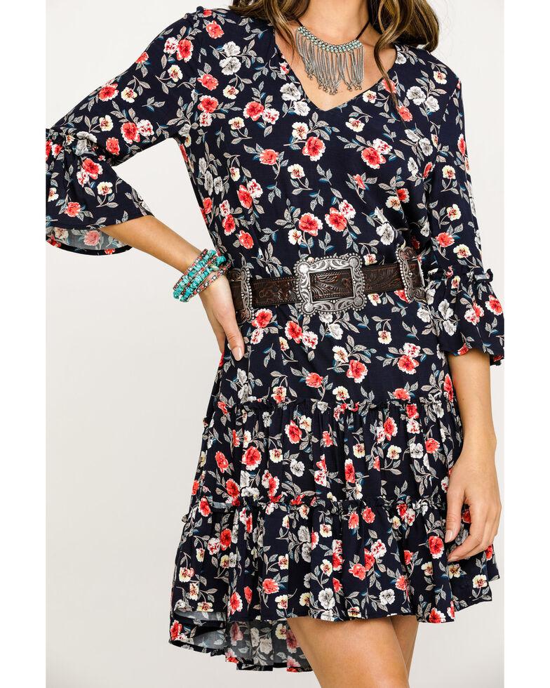 Studio West Women's Black Floral Printed Tiered Ruffle Dress, Blue, hi-res