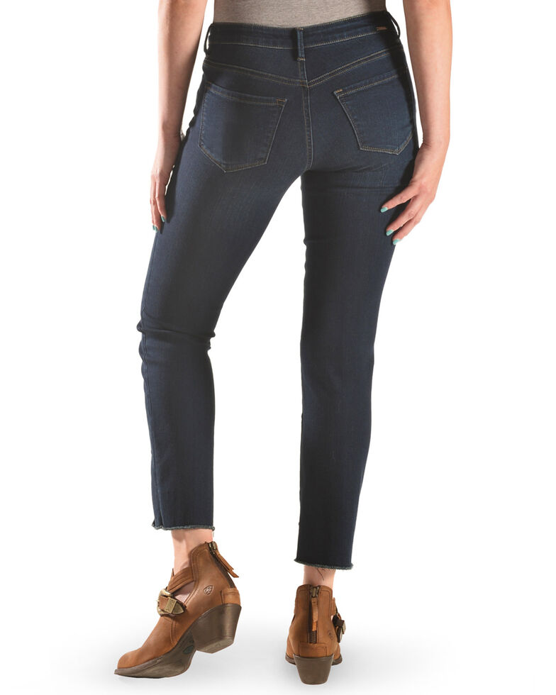 Tractr Women's Front Fray Panel Step Hem Jeans, Indigo, hi-res