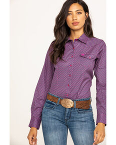 Cinch Women's Purple Geo Print Snap Core Long Sleeve Western Shirt, Multi, hi-res