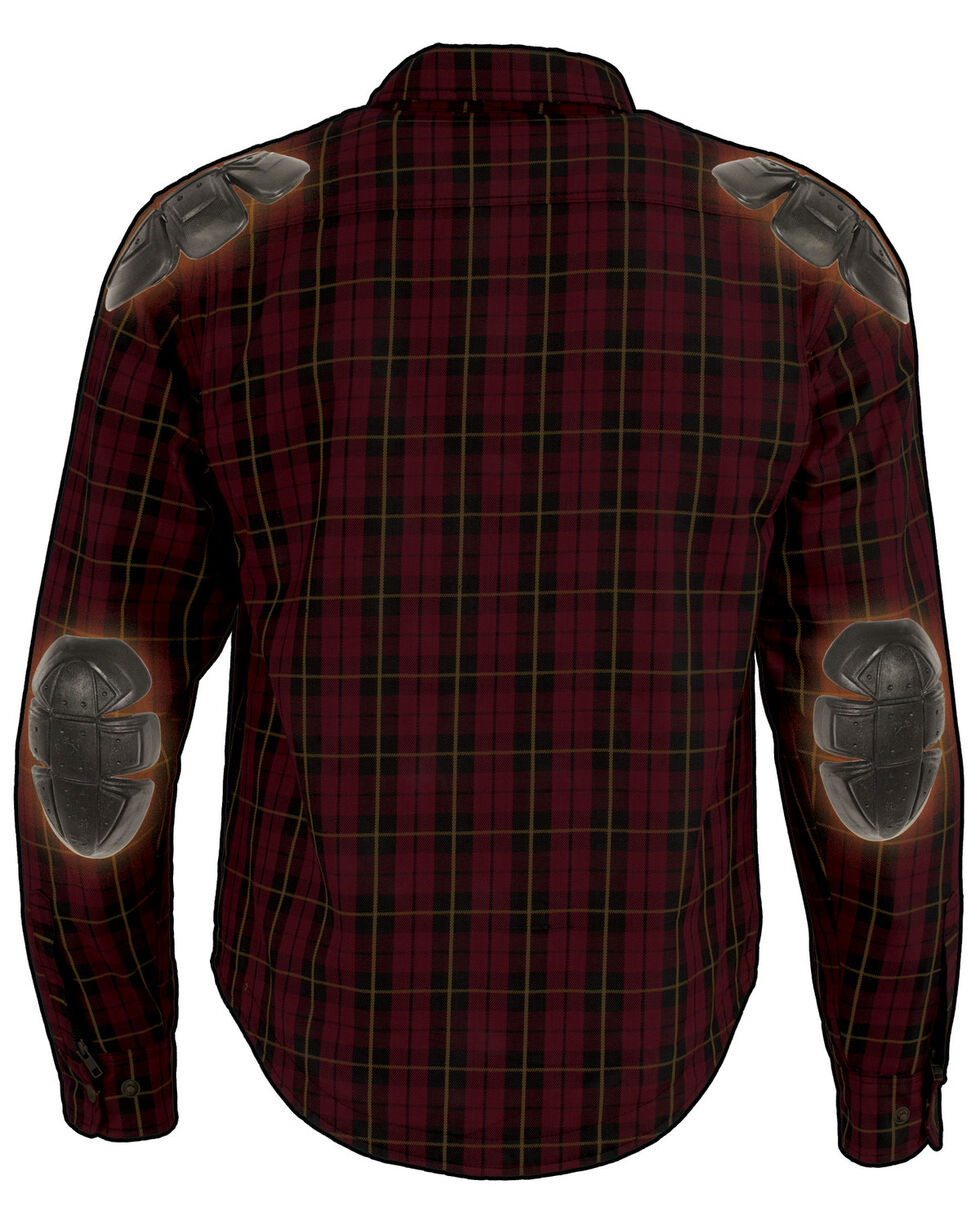 Milwaukee Performance Men's Aramid Reinforced Checkered Flannel Biker Shirt - Big & Tall, Black/red, hi-res
