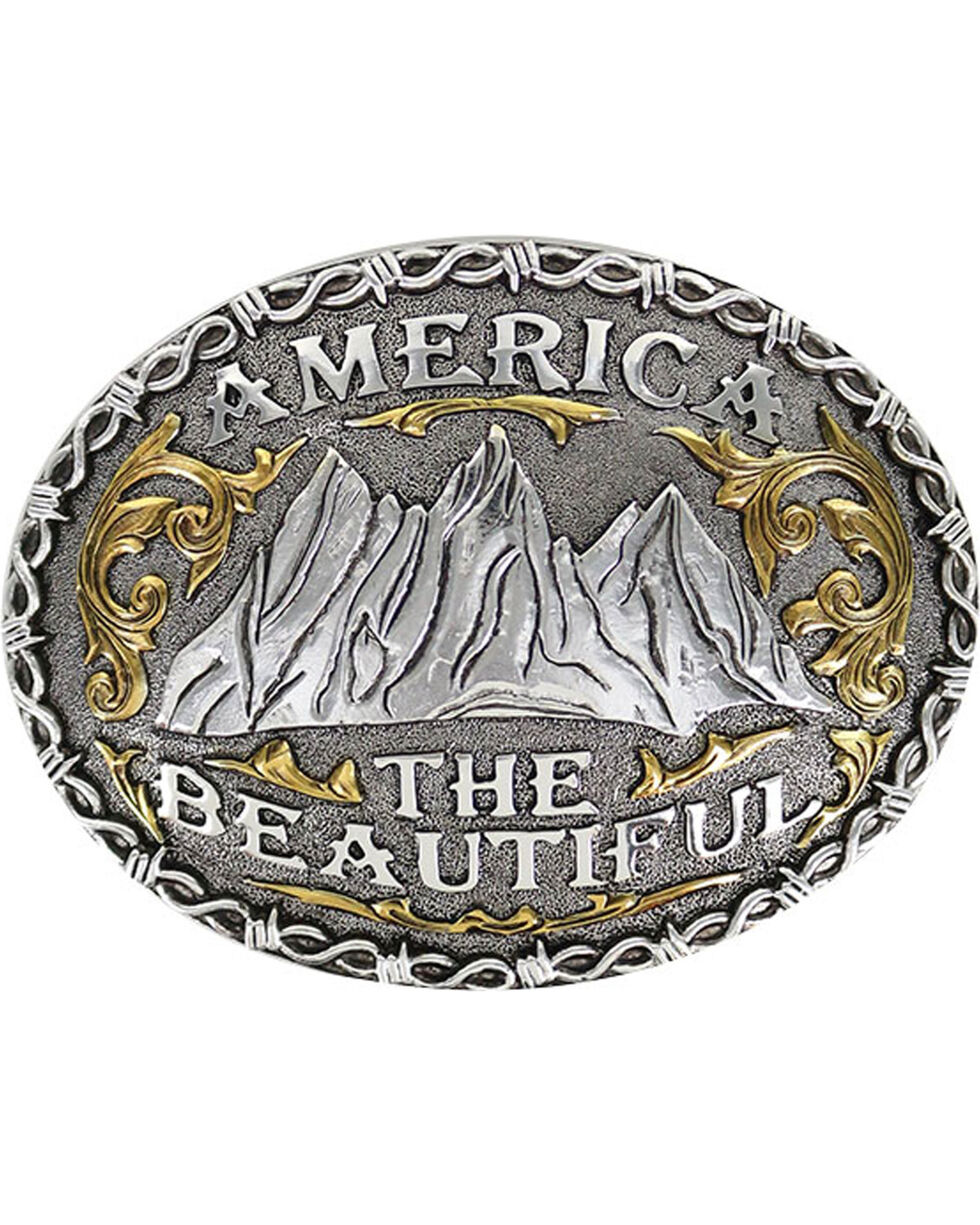 "Cody James® Men's ""America The Beautiful"" Belt Buckle, Silver, hi-res"