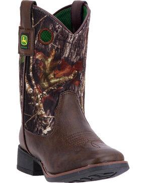 John Deere Kids' Camo Printed Western Boots, Brown, hi-res