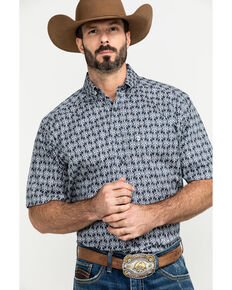 Tuf Cooper Men's Grey Stretch Geo Print Short Sleeve Western Shirt , Grey, hi-res