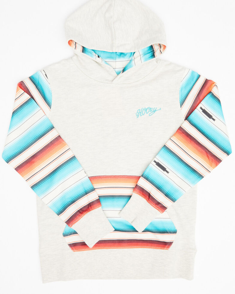 HOOey Girls' Mojave Serape Hoodie Sweatshirt, Cream, hi-res