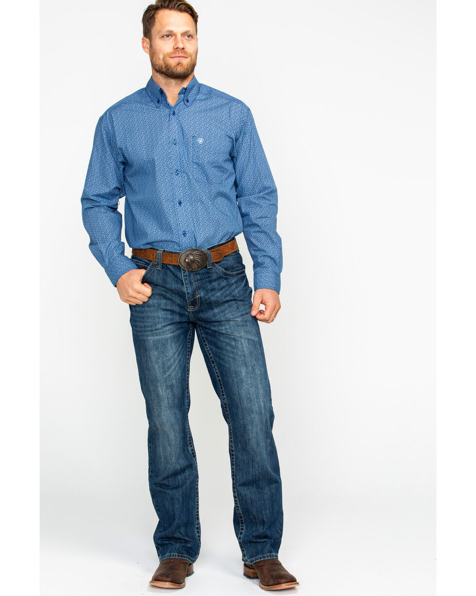 Ariat Men's Dullins Floral Print Long Sleeve Western Shirt, Navy, hi-res