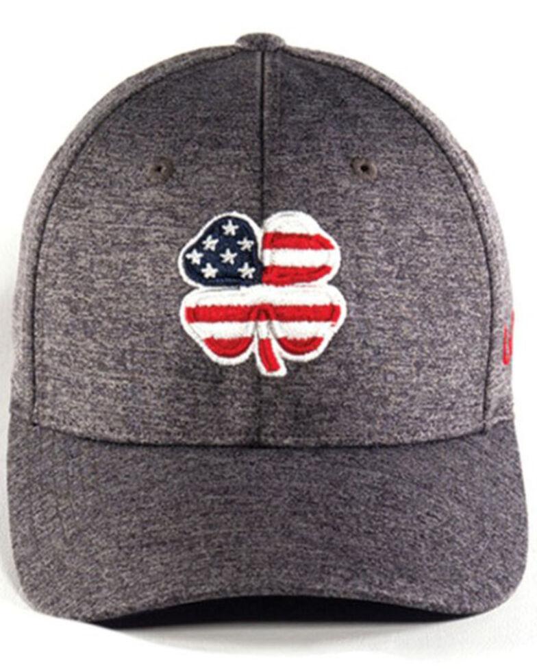 Black Clover Men's Heather Grey USA Flag Clover Flex-Fit Ball Cap , Grey, hi-res