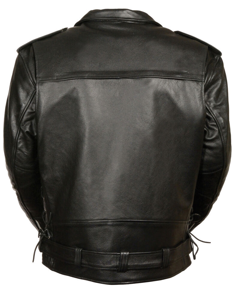 Milwaukee Leather Men's Black Vented Side Lace Leather Motorcycle Jacket  , Black, hi-res