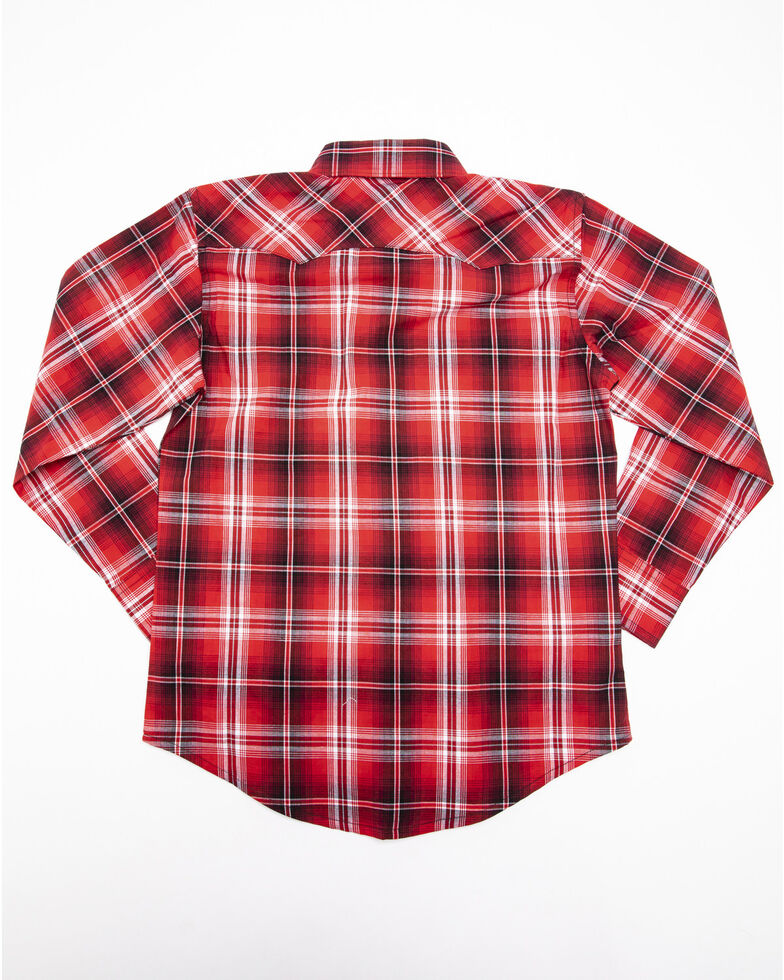 Wrangler Retro Boys' Red Plaid Long Sleeve Western Shirt , Red, hi-res