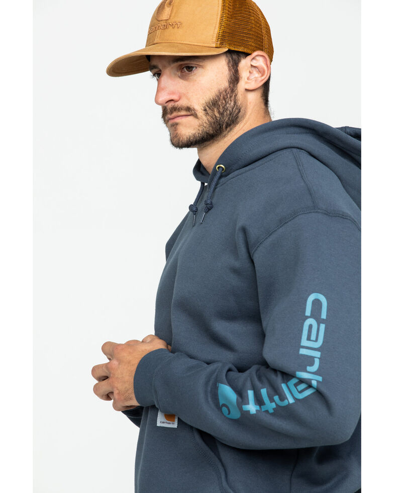 Carhartt Men's Mid Weight Hooded Logo Work Sweatshirt , Blue, hi-res