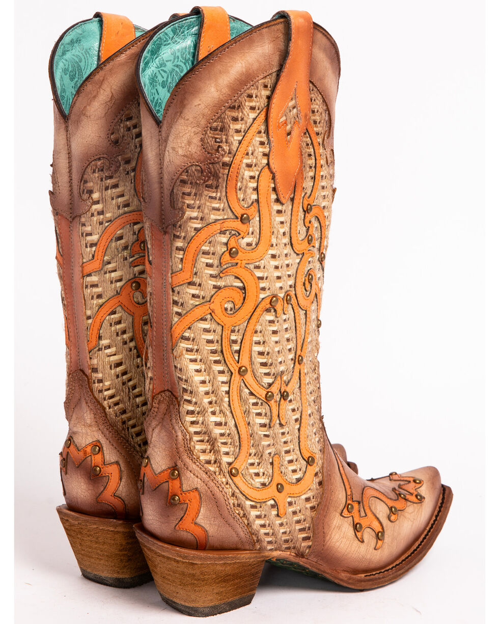 Corral Women's Swirl Overlay Stud Cowgirl Boots - Snip Toe, Cream, hi-res