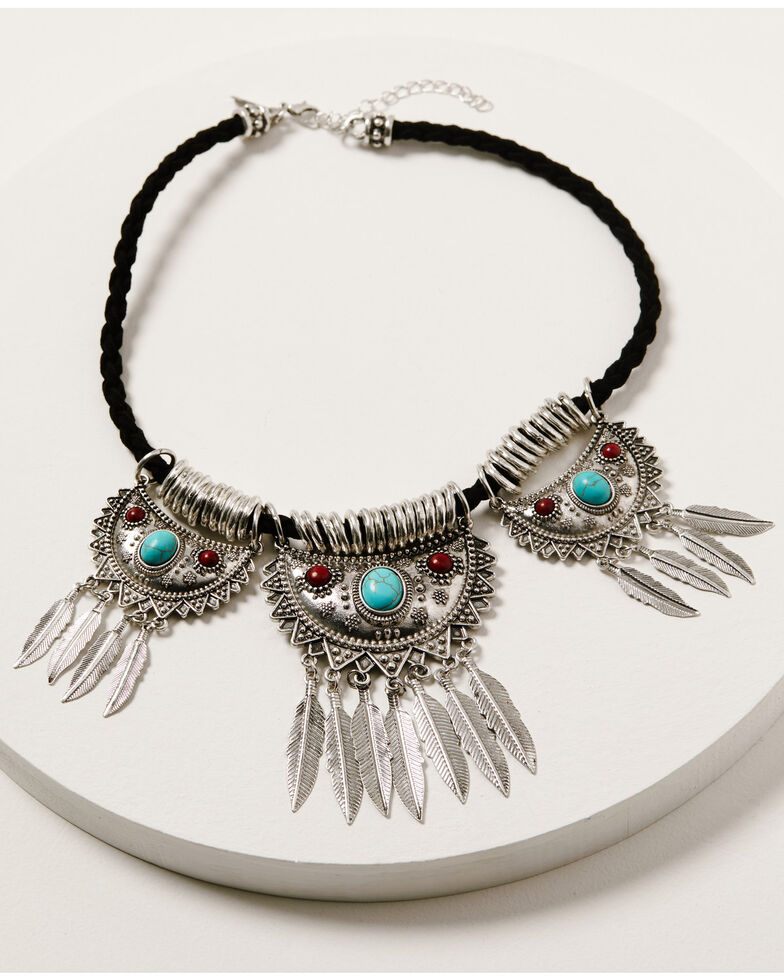 Shyanne Women's Wild Soul Feather Fringe Bib Necklace, Silver, hi-res