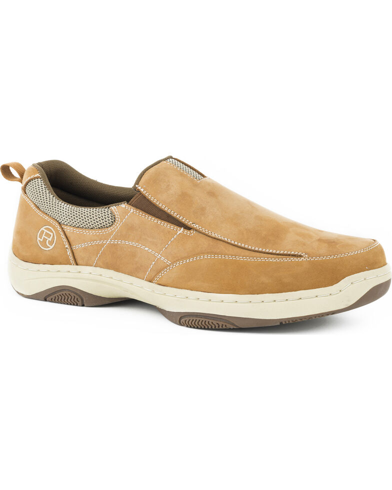 Roper Men's Tan Twin Gore Padded Collar Boat Shoes , Tan, hi-res