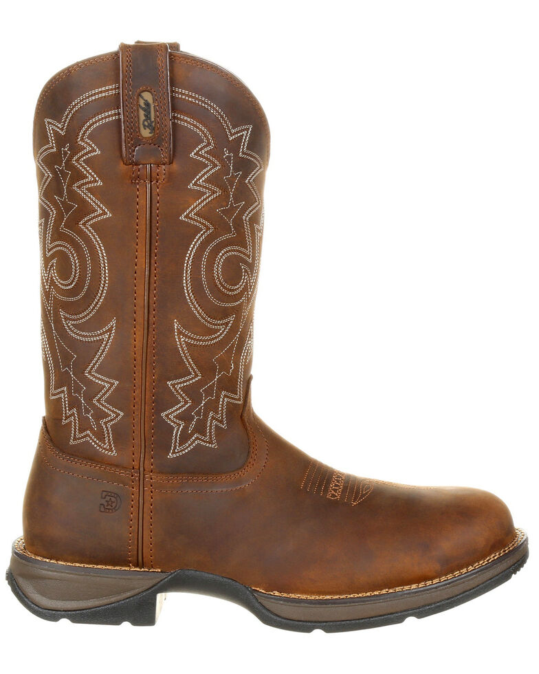 Durango Men's Rebel Waterproof Western Work Boots - Steel Toe, Brown, hi-res