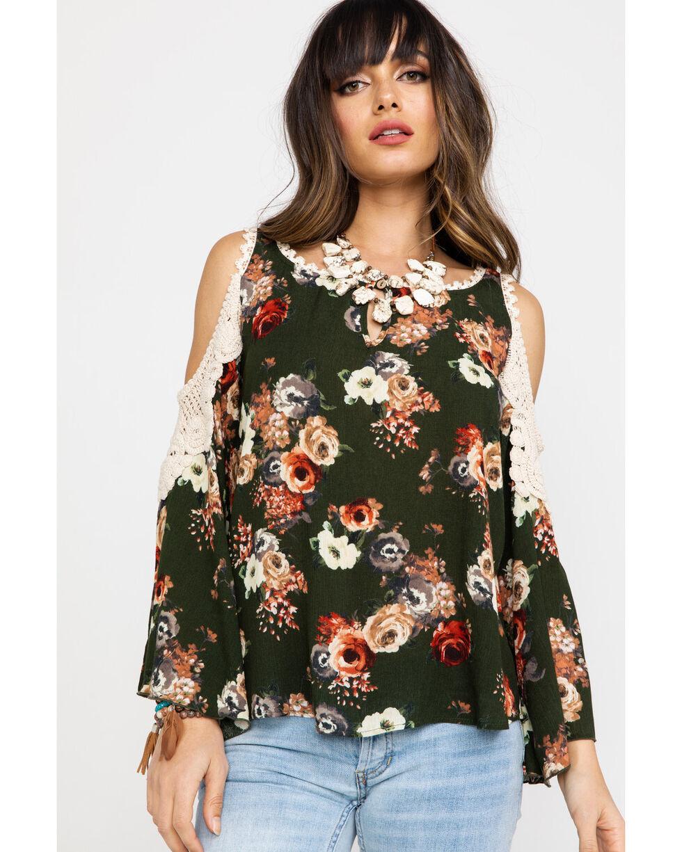 Nikki Erin Women's Floral Crochet Cold Shoulder Top , Olive, hi-res